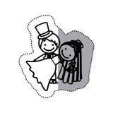 icône de mariage de couples de caricature de silhouette de croquis d'autocollant Photographie stock