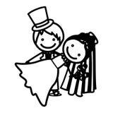icône de mariage de couples de silhouette de croquis Photos stock