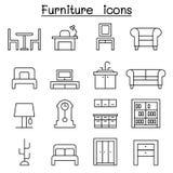 Icône de meubles réglée dans la ligne style mince Photos stock