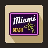 Icône de Miami Beach dans le style plat Photos libres de droits