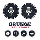 Icône de microphone Symbole de haut-parleur Live Music Sign Photo stock