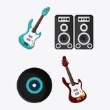 Icône de musique de vinyle de haut-parleur de guitare électrique Dessin de vecteur Image libre de droits