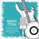 Icône de musique de vinyle de microphone de guitare électrique Dessin de vecteur Image libre de droits