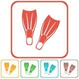 Icône de nageoires de plongée Photographie stock libre de droits