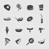 Icône de noir d'aliments de préparation rapide réglée sur le blanc Images libres de droits