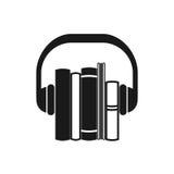 Icône de noir d'Audiobooks Photographie stock libre de droits
