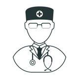 Icône de noir d'homme de docteur illustration stock