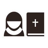 Icône de nonne et de bible illustration libre de droits