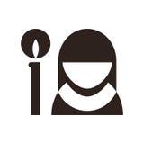 Icône de nonne et de bougie Symbole d'église illustration de vecteur