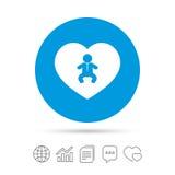 Icône de nourrisson de bébé d'amour Symbole de garçon d'enfant en bas âge Image libre de droits