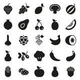 Icône de nourriture de Vegan réglée sur le fond blanc Image libre de droits
