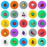Icône de nourriture de Vegan réglée sur le fond rond Photos libres de droits