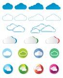 Icône de nuage réglée au-dessus du fond blanc Photographie stock libre de droits