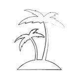 Icône de Palm Beach d'arbre Photos libres de droits