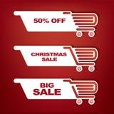 Icône de panier avec des ventes de Noël Photographie stock libre de droits