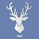 Icône de papier de tête de cerfs communs avec l'ombre Image stock
