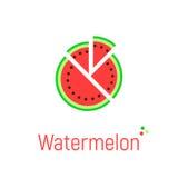 Icône de pastèque sur le blanc Images stock