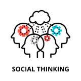 Icône de pensée sociale, ligne mince plate illustration de vecteur Photo stock