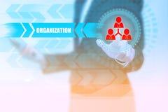 Icône de personnes de pressing de femme d'affaires avec le texte d'ORGANISATION sur un v Image stock