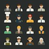 Icône de personnes, icônes de professions, ensemble de travailleur Image libre de droits