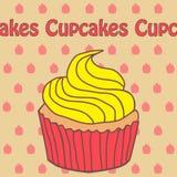 Icône de petit gâteau et de yaourt dans le style de griffonnage Photographie stock libre de droits
