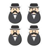 Icône de photo de portrait d'avatar de type de moustache de magicien illustration de vecteur