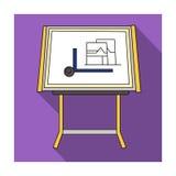 Icône de planche à dessin dans le style plat d'isolement sur le fond blanc Architecte Symbol Photos stock