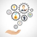 Icône de planification de stratégie commerciale plate illustration stock
