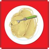 Icône de plat de spaghetti Images libres de droits