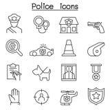 Icône de police réglée dans la ligne style mince illustration stock