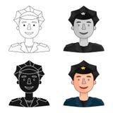 Icône de policier dans le style de bande dessinée d'isolement sur le fond blanc Les gens du vecteur différent d'actions de symbol Images libres de droits