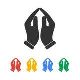 Icône de prière de mains, illustration Photos libres de droits