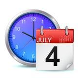 Icône de programme - horloge de bureau avec le calendrier Images stock