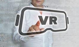 Icône de réalité virtuelle avec le concept de matrice et d'homme d'affaires image libre de droits