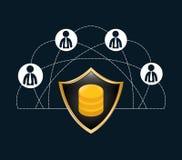icône de réseau de serrure de connexions de personnes Photographie stock