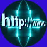Icône de recherche de Web de HTTP À l'arrière-plan nous avons le plat en aluminium se reflétant bleu Image libre de droits
