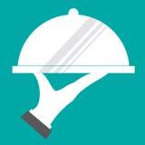 Icône de restaurant avec le plateau du plat à disposition illustration stock