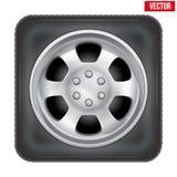 Icône de roue de voiture carrée sur le fond blanc Photographie stock