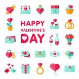 Icône de Saint Valentin réglée dans l'appartement Photographie stock libre de droits