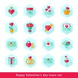 Icône de Saint Valentin réglée dans l'appartement Photos libres de droits