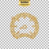 Icône de scintillement d'or de tachymètre d'isolement sur le fond Illustration créative de concept d'art pour le Web, confettis l illustration de vecteur