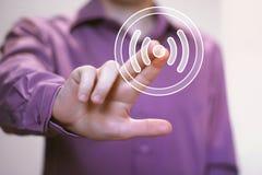 Icône de signal de connexion de Web de Wifi de bouton d'affaires Image libre de droits