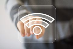 Icône de signal de connexion de Wifi de bouton d'affaires Photos libres de droits