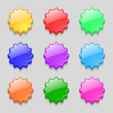 Icône de signe de boîte-cadeau Symbole actuel Coloré réglé Images libres de droits