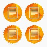Icône de signe de fichier texte Cote du document de dossier Photo stock