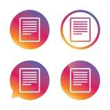 Icône de signe de fichier texte Cote du document de dossier Photo libre de droits