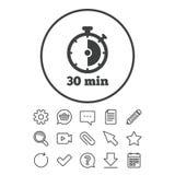 Icône de signe de minuterie symbole de chronomètre de 30 minutes illustration de vecteur