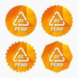 Icône de signe du HDPE 02 Polyéthylène haute densité Images stock