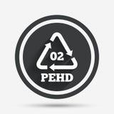 Icône de signe du HDPE 02 Polyéthylène haute densité Image libre de droits