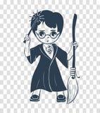 Icône de silhouette d'un garçon de magicien illustration stock